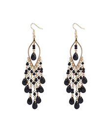 Bohemia Black Beads Decorated Tassel Design  Alloy Korean Earrings