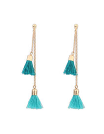 Bohemia Green Tassel Decorated Simple Design  Alloy Stud Earrings
