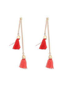 Bohemia Padparadscha Tassel Decorated Simple Design  Alloy Stud Earrings