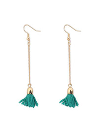 Bohemia Green Tassel Decorated Simple Design