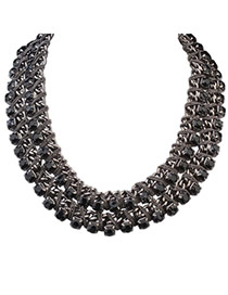 Exquisite Black Gemstone Decorated Double Layer Design Alloy Bib Necklaces