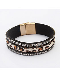 Fashion Black Diamond & Leopard Pattern Decorated Simple Design  Rhineston Korean Fashion Bracelet