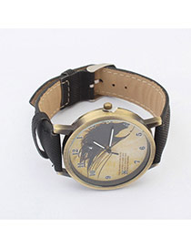 Exquisite Black Bird Pattern Decorated Simple Design Pu Ladies Watches