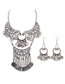 Retro Ancient Silver Coins Decorated Simple Design  Alloy Jewelry Sets