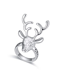 Trend Silver Color Letter Decorated Deer Shape Design  Alloy Korean Rings