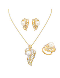 Exaggerate Gold Color Pearl&hollow Out Leaf Pendant Decorate Simple Design