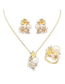 Exaggerate Gold Color Pearl &flowre Pendant Decorated Smiple Design