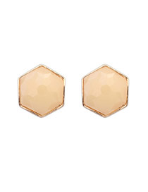 Exaggerated Beige Gemstone Decorated Hexagon Shape Design  Alloy Stud Earrings