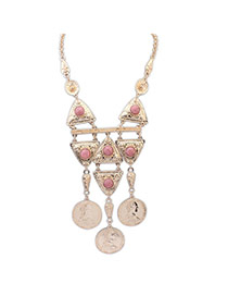 Fashion Pink Tassel Pendant&round Gemstone Decorated Simple Design Alloy Bib Necklaces