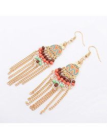 Fashion Gold Color Round Shape Decorated Tassel Design  Alloy Korean Earrings