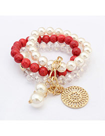 Fashion Red Round Pendant Decorated Multilayer Design  Resin Korean Fashion Bracelet