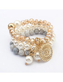 Fashion Light Gray Round Pendant Decorated Multilayer Design  Resin Korean Fashion Bracelet