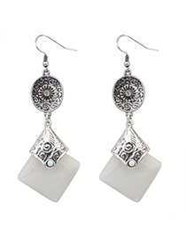 Fashion White+anti-silver Square Gemstone Pendant Decorated Simple Design  Alloy Korean Earrings