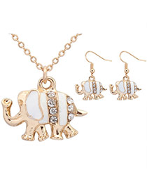 Sweet White Diamond Decorated Elephant Shape Pendant Design  Alloy Jewelry Sets