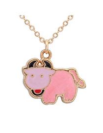 Sweet Pink Taurus Pendant Decorated Simple Design Alloy Chains