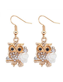 Sweet White Diamond&flower Decorated Owl Shape Design  Alloy Korean Earrings