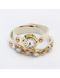 Fashion White Rivet&daimond Decorated Double Layer Design  Glass Ladies Watches