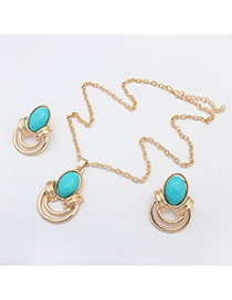 Elegant Green Oval Gemstone Decorated Simple Design  Alloy Jewelry Sets