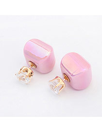 Sweet Light Purple Diamond & Candy Color Decorated Square Design Acrylic Stud Earrings