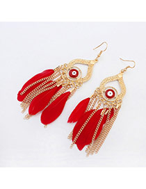 Vintage Red Eyes Pattern & Feather Decorated Tassel Design Alloy Korean Earrings