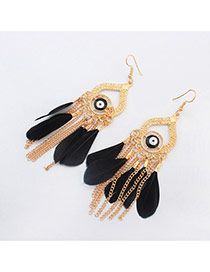 Vintage Black Eyes Pattern & Feather Decorated Tassel Design Alloy Korean Earrings