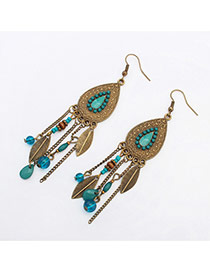 Vintage Blue Beads & Leaf Decorated Water Drop Shape Tassel Design Resin Korean Earrings