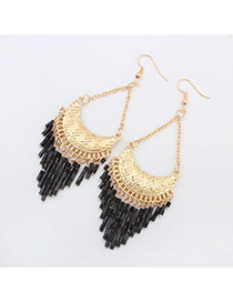 Fashion Black Crescent Shape Decorated Tassels Design Acrylic Korean Earrings