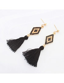 Fashion Black Rhombus Pattern Decorated Tassels Design Alloy Stud Earrings