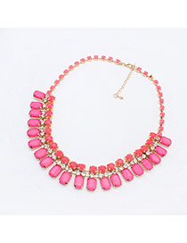 Fashion Plum Red Square Diamond Decorated Simple Design Resin Bib Necklaces