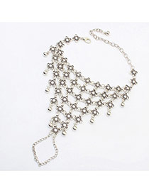 Vintage Silver Color Flower Shape Decorated Multilayer Design