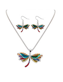 Cute Silver Color Dragonfly Shape Pendant Decorated Simple Design Alloy Jewelry Sets