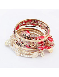 Cute Gold Color Round Shape Decorated Multilayer Design Alloy Fashion Bangles