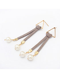 Trendy Gray Triangle Decorated Simple Design Alloy Korean Earrings