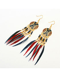 Fashion Multi-color Tassel Pendant Decorated Simple Design Alloy Korean Earrings