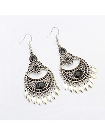 Fashion Black Diamond Decorated Crescent Shape Design Alloy Korean Earrings