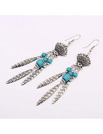 Vintage Blue Beads Decorated Trangle Shape Design Acrylic Korean Earrings