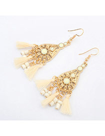 Vintage White Tassel Pendant Decorated Hollow Out Waterdrop Shape Design Alloy Korean Earrings