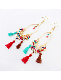 Vintage Multi-color Tassel Pendant Decorated Oval Shape Design Alloy Korean Earrings