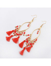 Vintage Red Tassel Pendant Decorated Oval Shape Design Alloy Korean Earrings