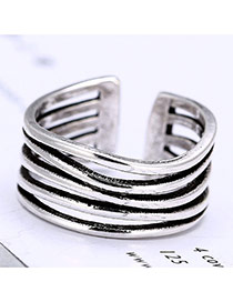 Retro Silver Color Pure Color Waving Shape Decorated Multilayer Ring