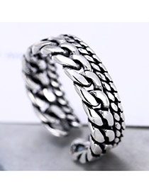 Retro Silver Color Chians Weaving Design Opening Ring