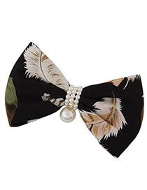 Fashion Black Feather Pattern Decorated Bowknot Shape Hair Clip Hair Claw