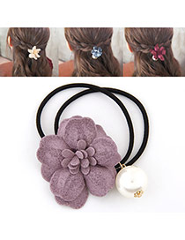 Fashion Purple Pearl&flower Decorated Double Layer Hair Band Hair Hoop