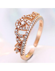 Personalized Rose Gold Crown&diamond Decorated Simple Opening Ring