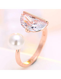 Personalized Rose Gold Pearl&semicircle Diamond Decorated Simple Opening Ring
