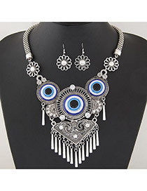 Retro Silver Color Metal Round Shape Pendant Decorated Tassel Jewelry Sets