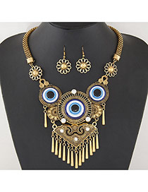Retro Gold Color Metal Round Shape Pendant Decorated Tassel Jewelry Sets