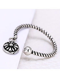 Personality Silver Color Metal Flower Pendant Decorated Wave Opening Ring