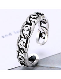 Personality Silver Color Round&chain Shape Decorated Simple Opening Ring