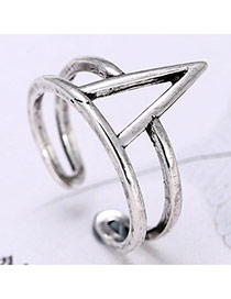 Personality Silver Color Triangle Decorated Double Layer Opening Ring